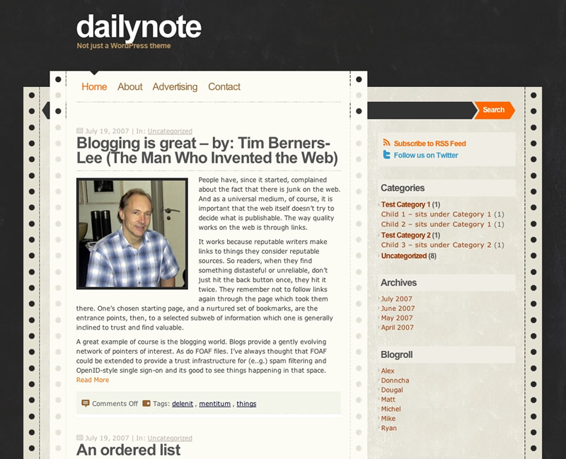 DailyNote WordPress Theme