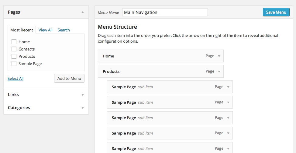 Wordpress Menu System